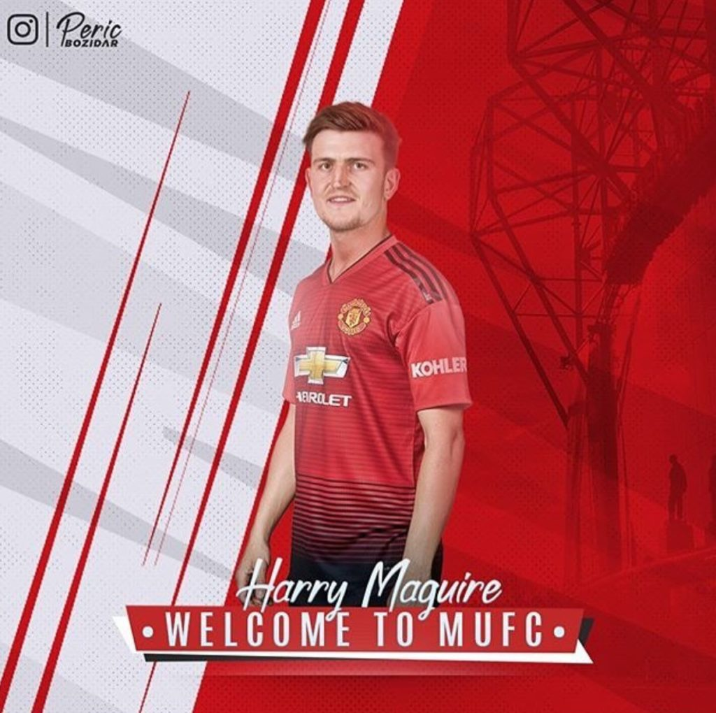 Harry Maguire in Man United shirt