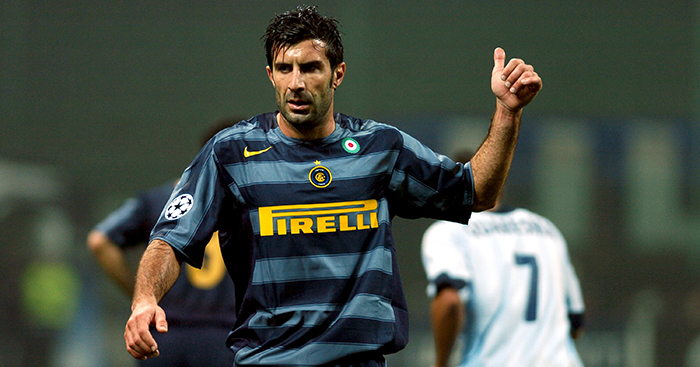 Luis Figo playing for Serie A giants Inter Milan in the Champions League